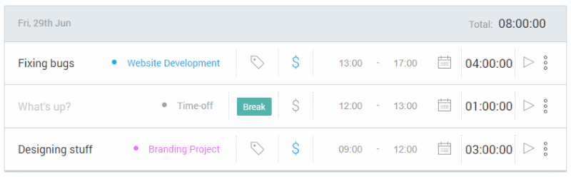 Accounting for break time in time tracking software