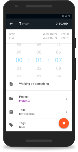 Android time tracking app screenshot of editing details