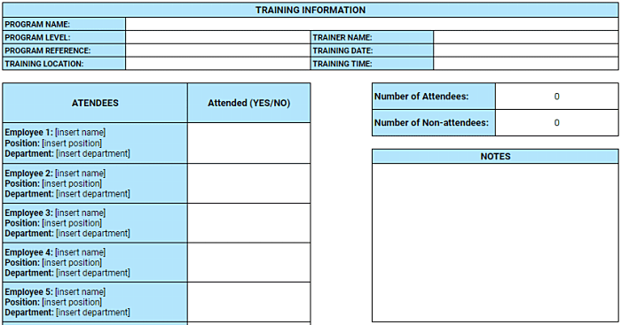 training program attendance