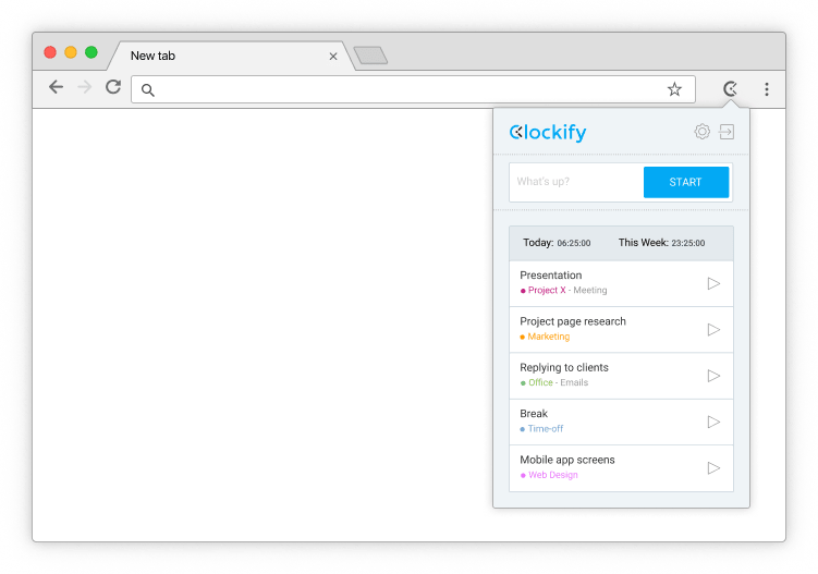 Free Chrome time tracking extension - Clockify