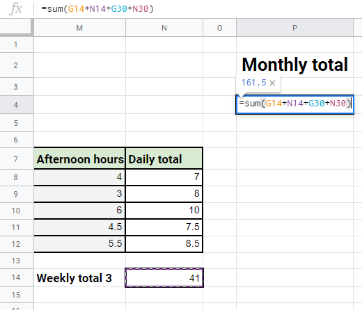 Monthly total formula up close