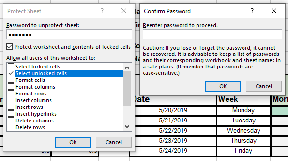 adding a password to protect sheet