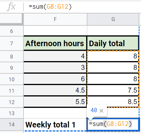 weekly working hours formula preview image