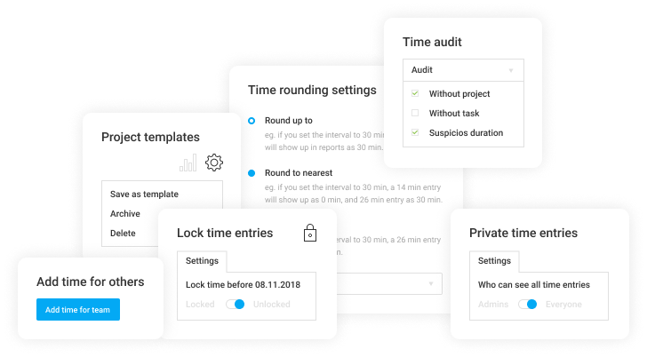 Extra features: Lock timesheets, Time rounding, Time audit, Required fields, Branded reports, Private time entries, Targets and reminders, Add time for others, Project templates