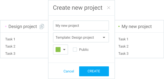 Extra features Project templates