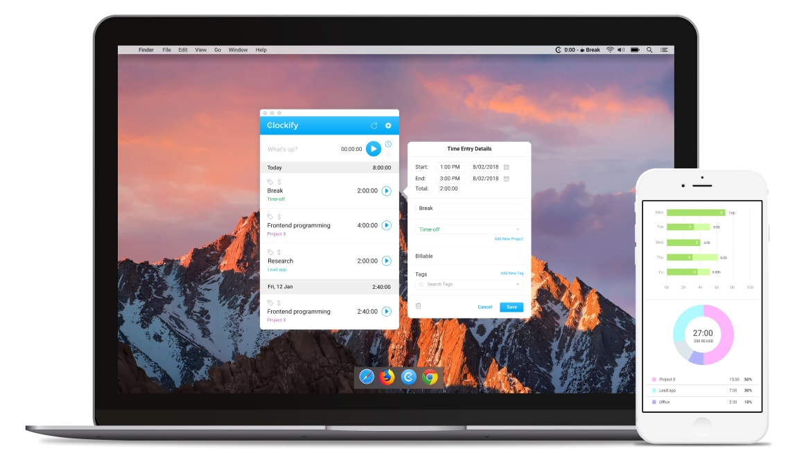 Project time tracker apps for Mac, Windows, iOS, and Android