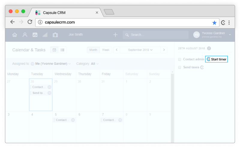 Capsule CRM time tracking - timer appears in Capsule CRM tasks