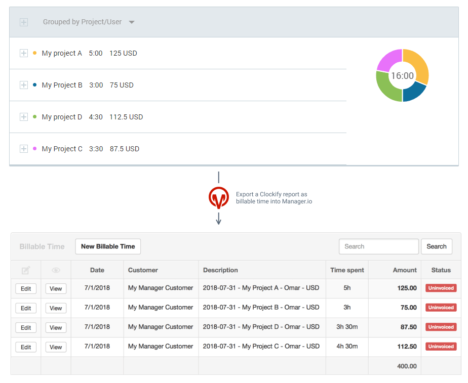 Manager.io time tracking integration screenshot