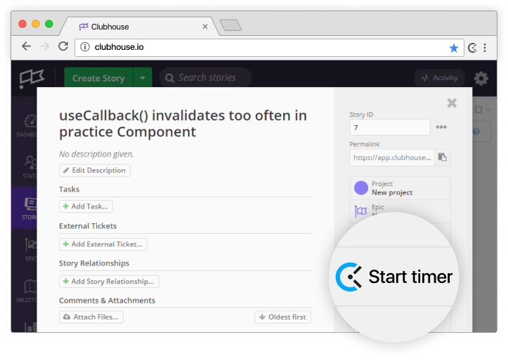 Clubhouse time tracking integration screenshot
