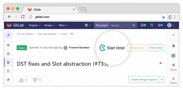 GitLab time tracking integration screenshot