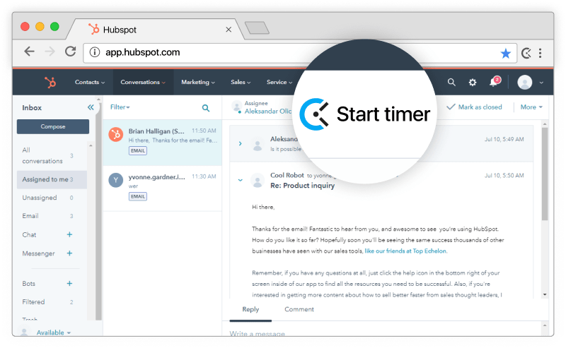 Hubspot time tracking integration screenshot
