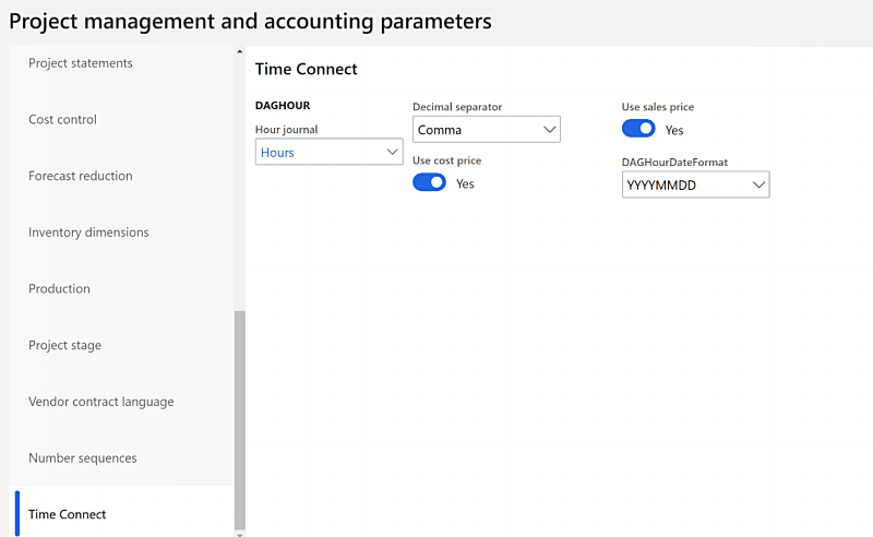 MS Dynamics Time Connect Project Parameters