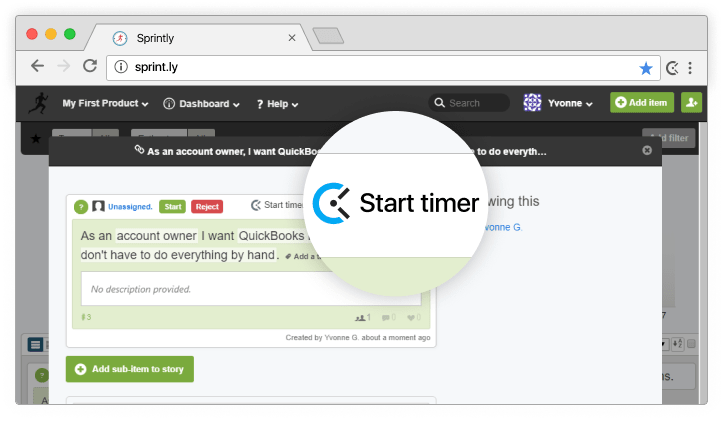 Sprintly time tracking integration screenshot