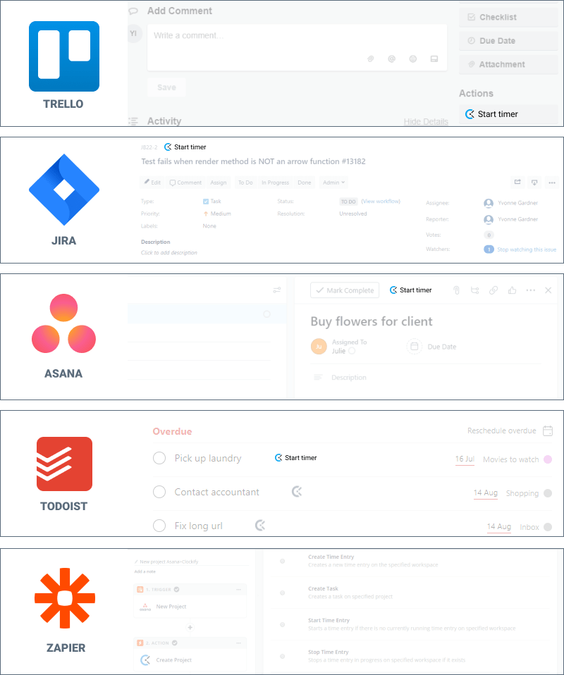 Free time tracking integrations