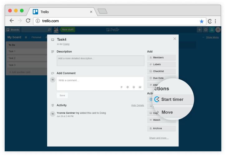 Trello time tracking integration screenshot