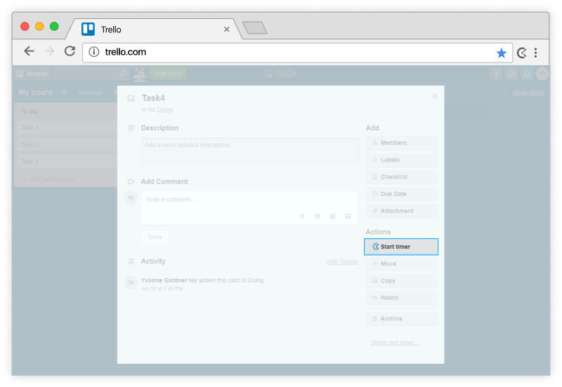 Trello time tracking - timer in Trello cards