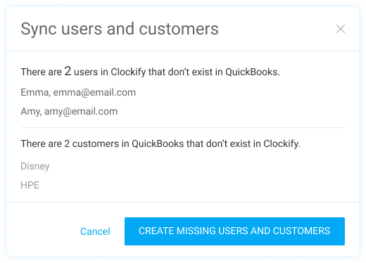 Sync users and customers between Clockify and QuickBooks