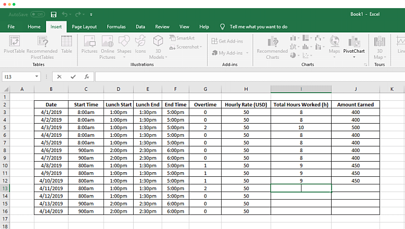 how to track time in a spreadsheet