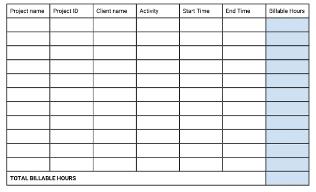 Preview of projects timesheet template