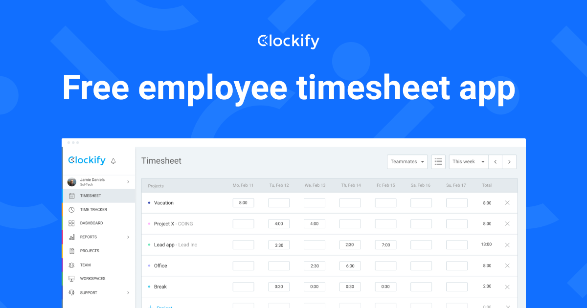 100  free timesheet software