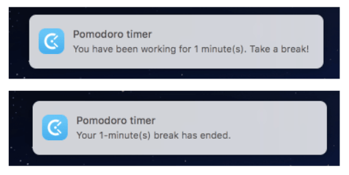 Pomodoro timer notification in Clockify