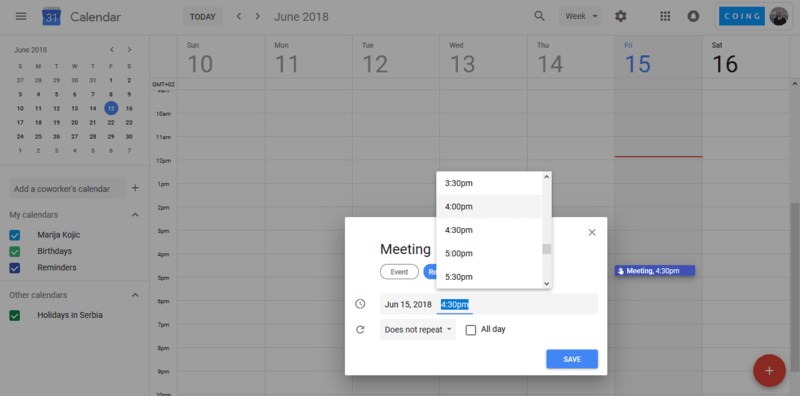 Google Calendar screnshot