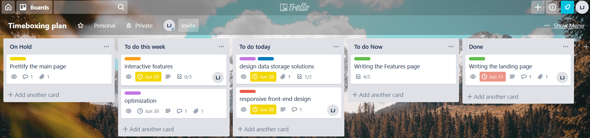 timeboxing in Trello