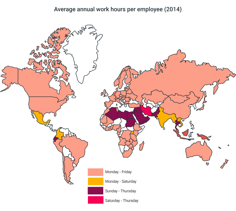 world annual work hours
