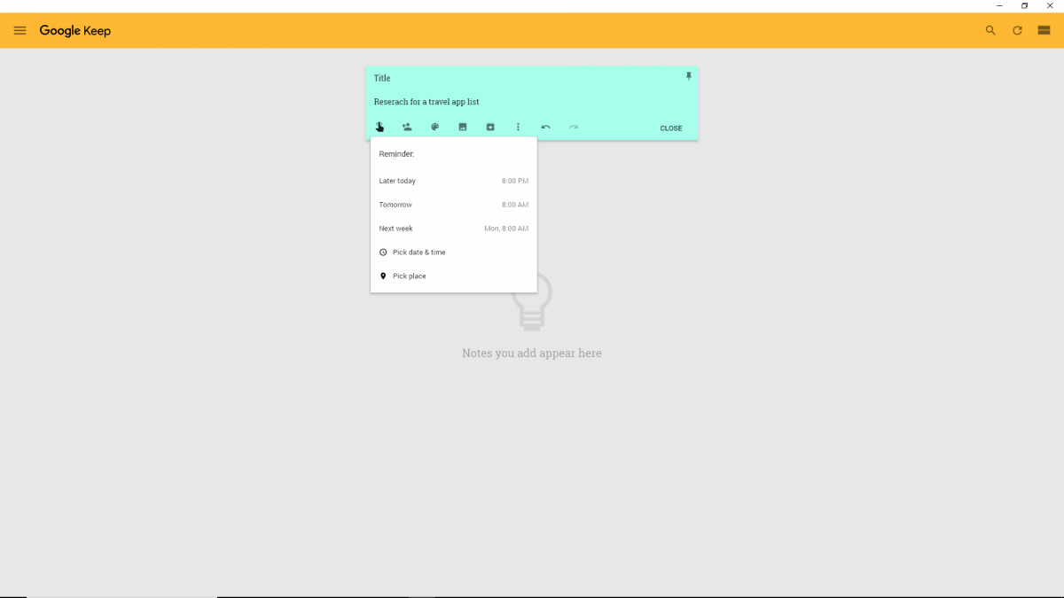 Best Chrome extension screenshot: Google Keep