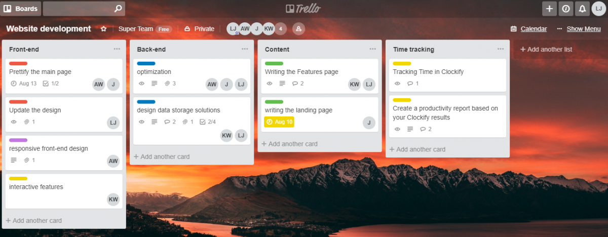 Organizing cards in Trello by type
