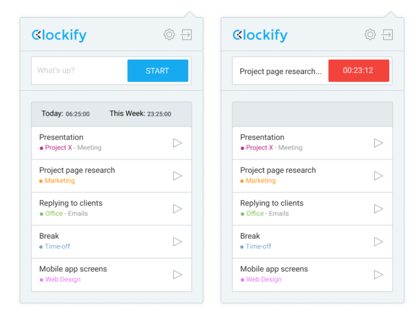 Clockify Chrome extension
