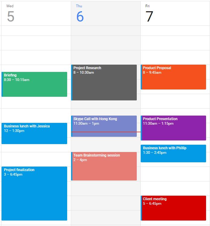 Simplified Calendar Schedule