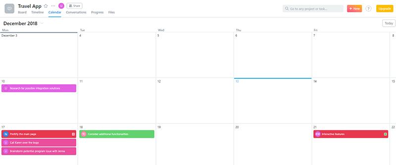 Asana calendar