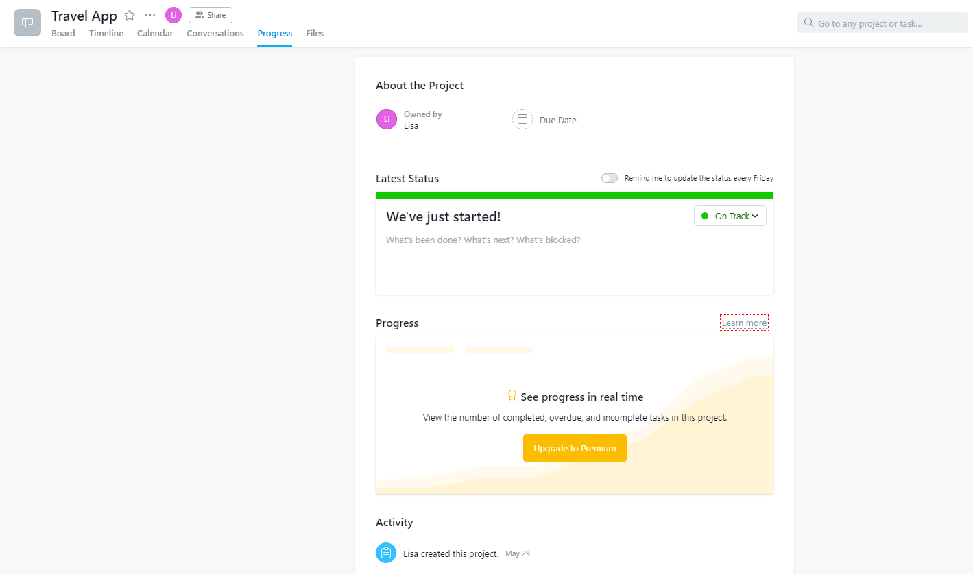 Progress tab in Asana