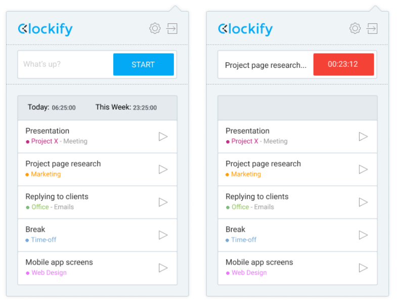 Clockify extensions for Chrome and Firefox