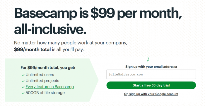 BaseCamp pricing plans