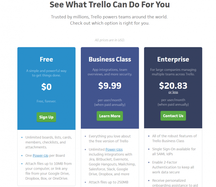 Trello pricing plans