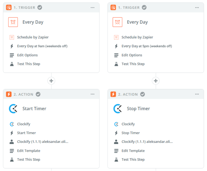 start and stop timer via zapier