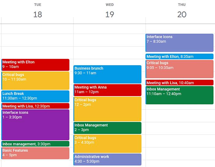 blocking stage, the calendar