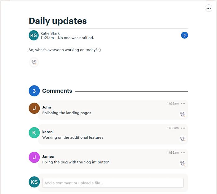 Daily updates via communication app