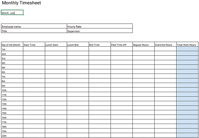 Monthly timesheet template for performance review