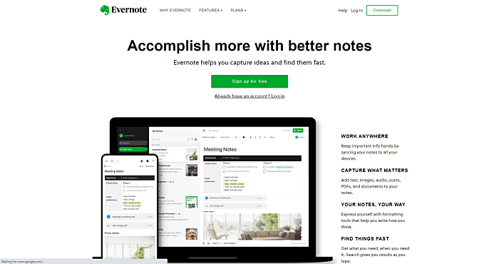 Organization apps - Evernote