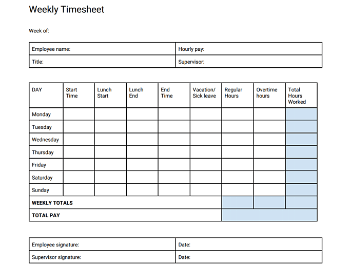 image of Timesheet Template