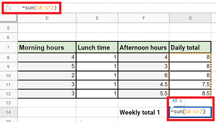 weekly total formula in Excel