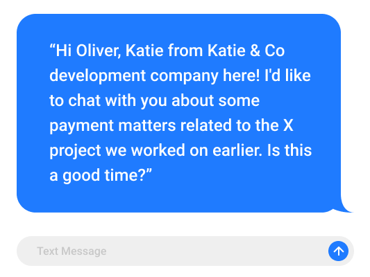 texting the client