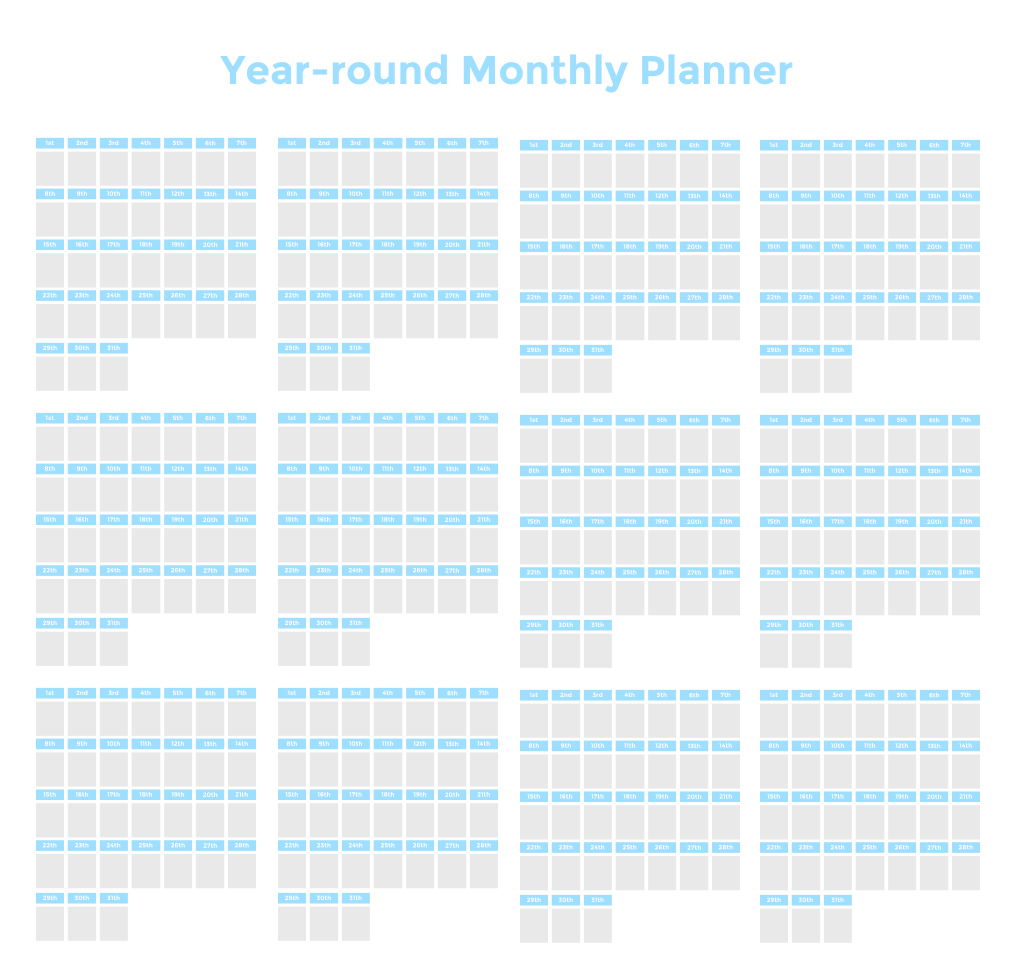 Year-round Monthly Planner
