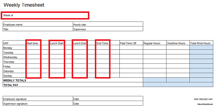 Adding work hours in an Excel timesheet template