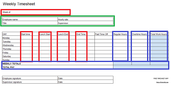 Calculating totals for added work hours in Excel timesheet