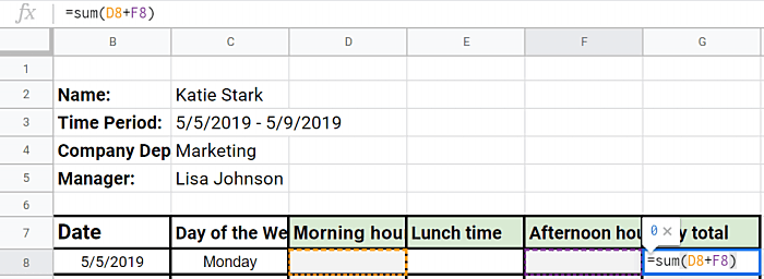 Excel timesheet with formulas example