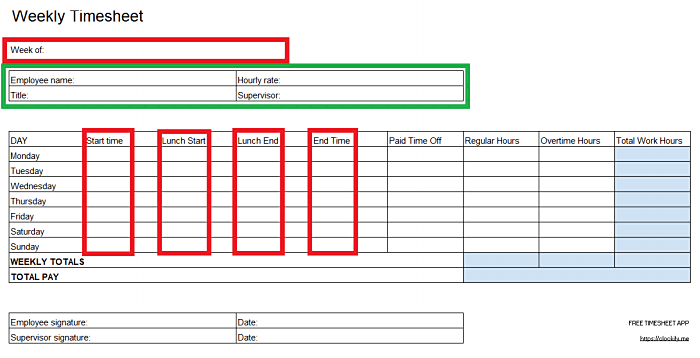 adding personal information in an Excel timesheet template